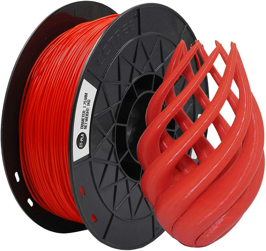 CCTREE ST-PLA (PLA+) 3D Printer Filament 1.75mm Accuracy +/- 0.03 mm 1kg Spool (2.2lbs) for Creality Ender 3/Ender 3 Pro/Ender 3 V2/Ender 3 Max,Ender 5 Plus/CR-10S Pro Red