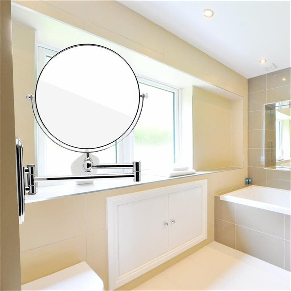 GF Wood Cosmetic Double-Sided 10X Magnifying Mirrors Chrome Round 8'' Wall Mirror Foldable Vanity Mounted Bathroom Toilet Mirror Shaving by GF Wood (Image #8)
