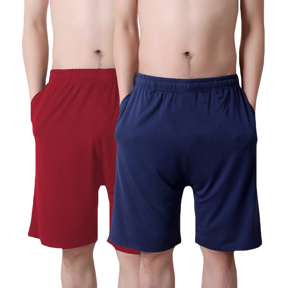 MAGE MALE Men's Summer Soft Sleep Shorts - 95% Modal Thin Pure Sleep Shorts & Lounge Wear with Pockets (Red-Navy, L)