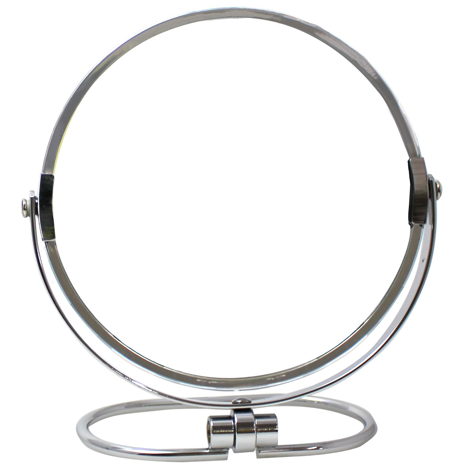 Stainless Steel Double-sided 360 Swivel Vanity Makeup Bathroom Mirror with 3x Magnification on Foldable Oval Base Stand - 7 inch, Chrome Colour