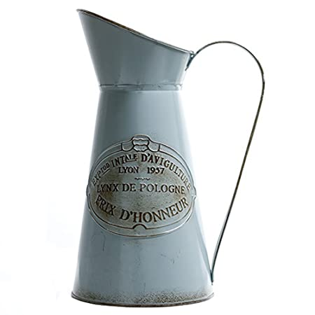 Hyfanstr French Style Rustic Pitcher Vase Metal Jug Flower For Home