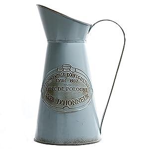 HyFanStr Jarrón rústico de estilo francés, jarra de metal para decoración del hogar