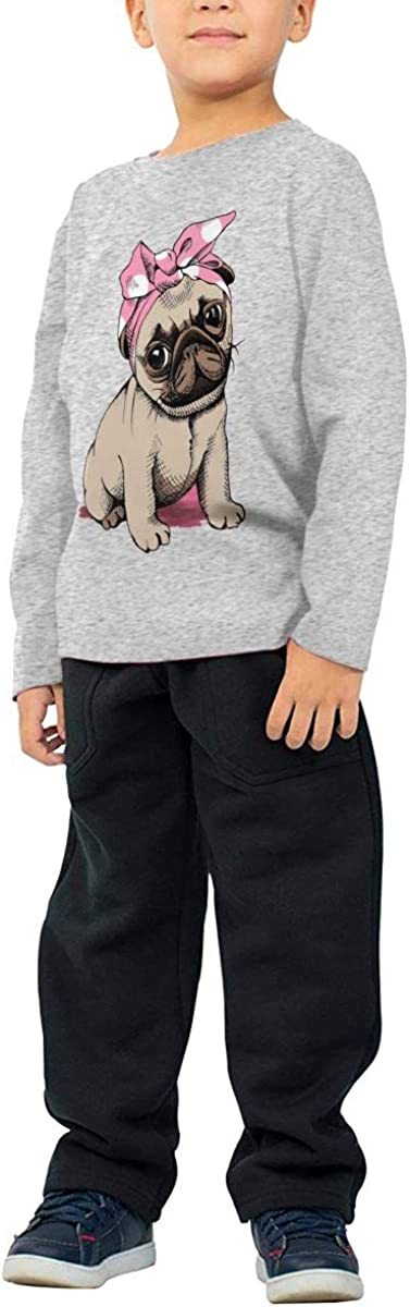Iponvx Pug with Hairband Unisex Boys Girls Long Sleeve Crew Neck Cotton T-Shirts Pullover Shirt for 2-6T Baby