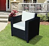 Outsunny 1 Seater Rattan Garden All-Weather Wicker Weave Single Sofa Armchair with Fire Resistant Sponge - Black