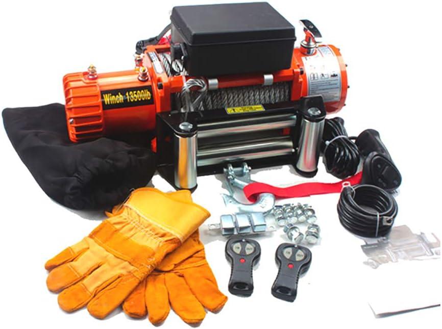 XINGXINGNS Cabrestante eléctrico, Cabrestante Eléctrico 12V/24V DC 13500 lbs para Coche, Kit Potente, camión, ATV, Barco, Remolque, Todoterreno