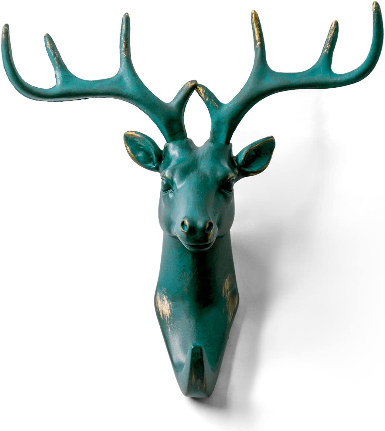 HERNGEE Deer Head Single Wall Hook/Hanger Animal Shaped Coat Hat Hook Heavy Duty, Rustic, Decorative Gift, Rustic Bronze Color