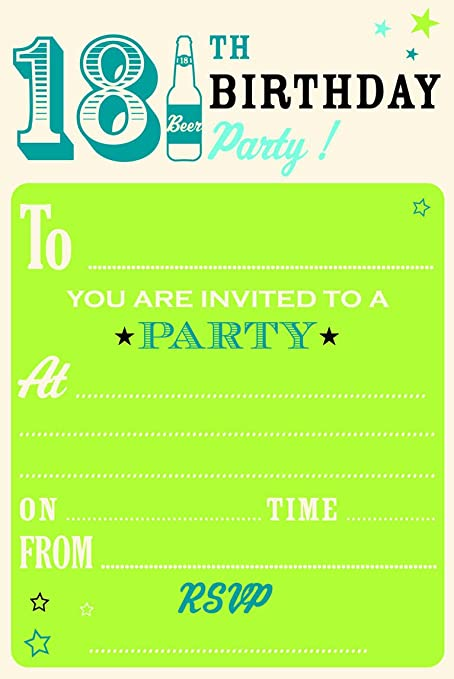 18th Birthday Party Invitations Pack of 20 with Envelopes