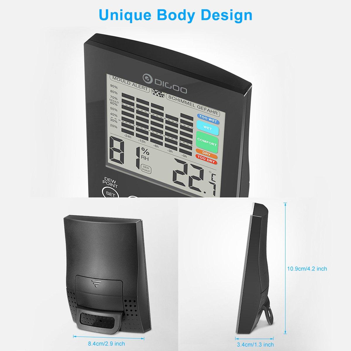 Sonde de Temp/érature et dHumidit/é avec lAlerte Point de DEW de LED,Fonction dIndex de 5 Niveau de Confort Noir DIGOO DG-TH2048 Thermom/ètre Int/érieur