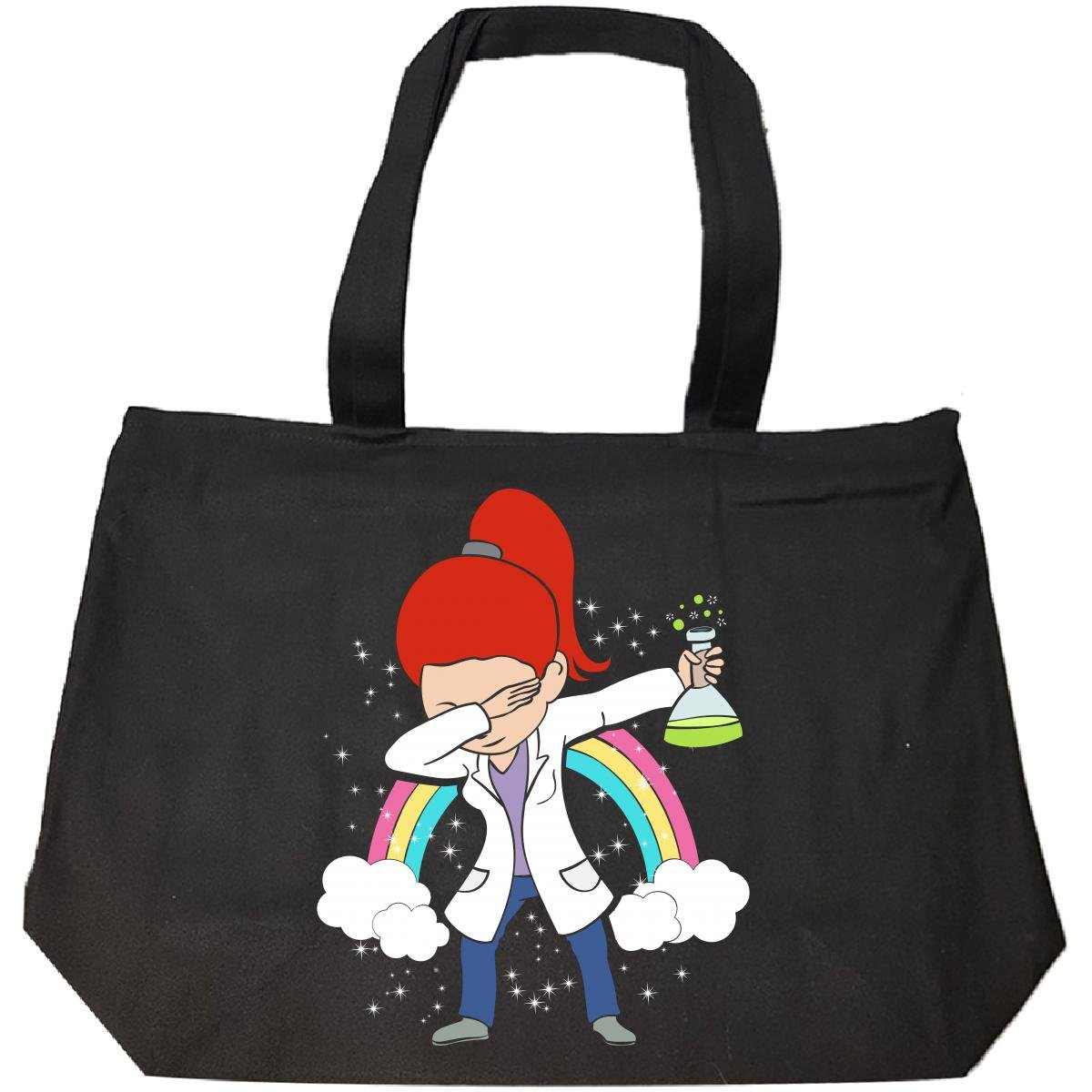 Dabbing Mom Wearing Labcoat Scientist Red Head Hair Gift - Tote Bag With Zip