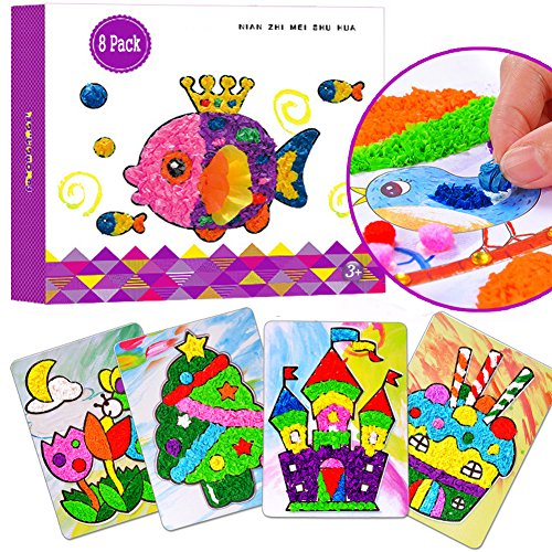 Tissue Fish Craft Kit (Paper Art Little Hands Tissue Mosaic Sticker Sticky Paper 8 Sheets 3 - year - old children 's puzzle handicraft set cartoon animal paper (Stickers))