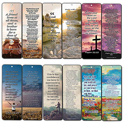 Christian Bookmarks Cards with Popular Inspirational Bible Verses - 6 Unique Designs (Pack of 60) - Bible Scripture Prayer Cards - War Room -