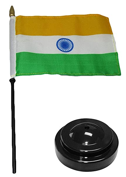 "India 4/""x6/"" Flag Desk Set Table Wooden Stick Staff"