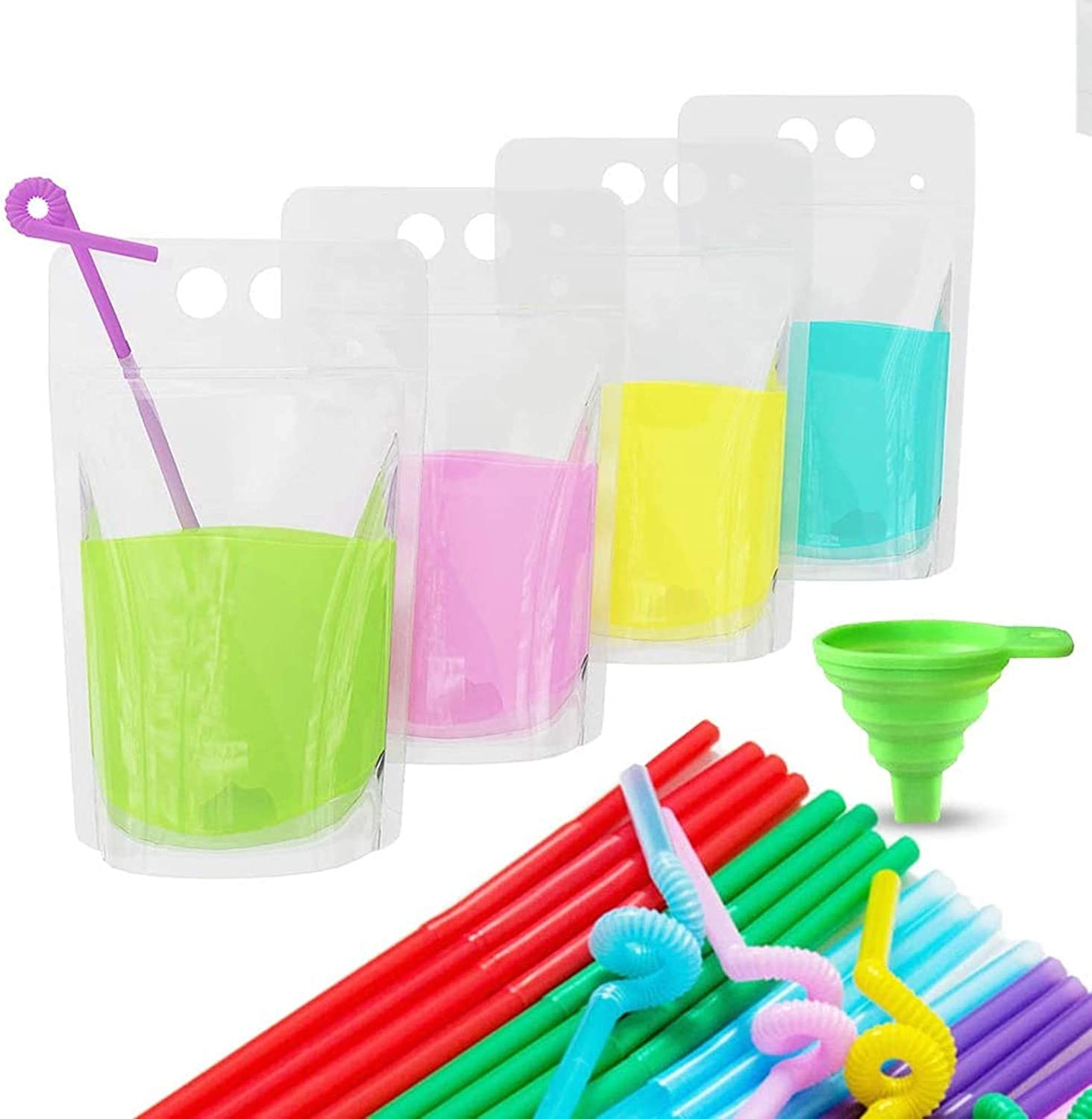Acerich 100 Pcs Drink Pouches with Straws Stand-Up Hand-Held Translucent Reclosable Heat-Proof Plastic Zipper Juice Bags, one size, Green