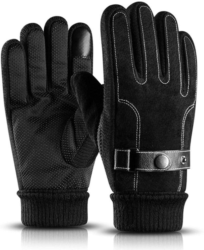 kaltes Wetter Touch Screen SMS Warm Handschuh mit rutschfestem Wildleder Leder Knit Cuff Dick Fleece Futter Herren Winter Handschuhe