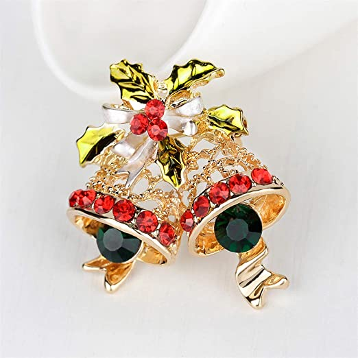 Crystal Double Bells Fashion Christmas Bows Sleigh Bells Brooches Christmas Gifts Christmas Brooches For Women Multicolor Rings
