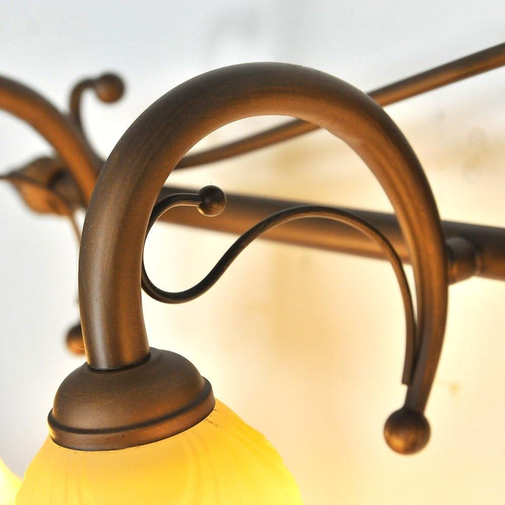 Modern/Zeitgenössische LED Wandleuchte Continental Eisen Retro Glas matt Lampenschirm Spiegel vorne Leuchten Badezimmer Kreative Make-up-Lichter Birne eingeschlossen (Farbe : A-44.5cm) A-60cm