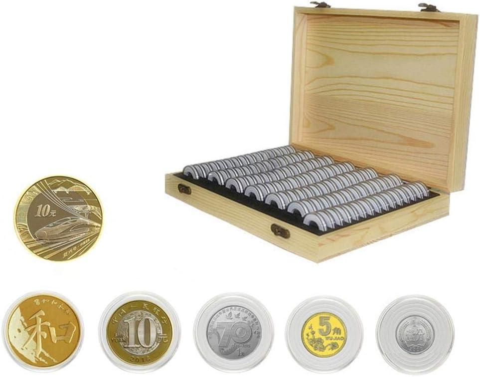 30PCS Capsules De Monnaie Bo/îte De Rangement en Bois Bo/îte De Protection des Pi/èces Coin Collection Box Bo/îte De Rangement Comm/émorative pour Pi/èces De Monnaie pour 20//25//30//35//40mm