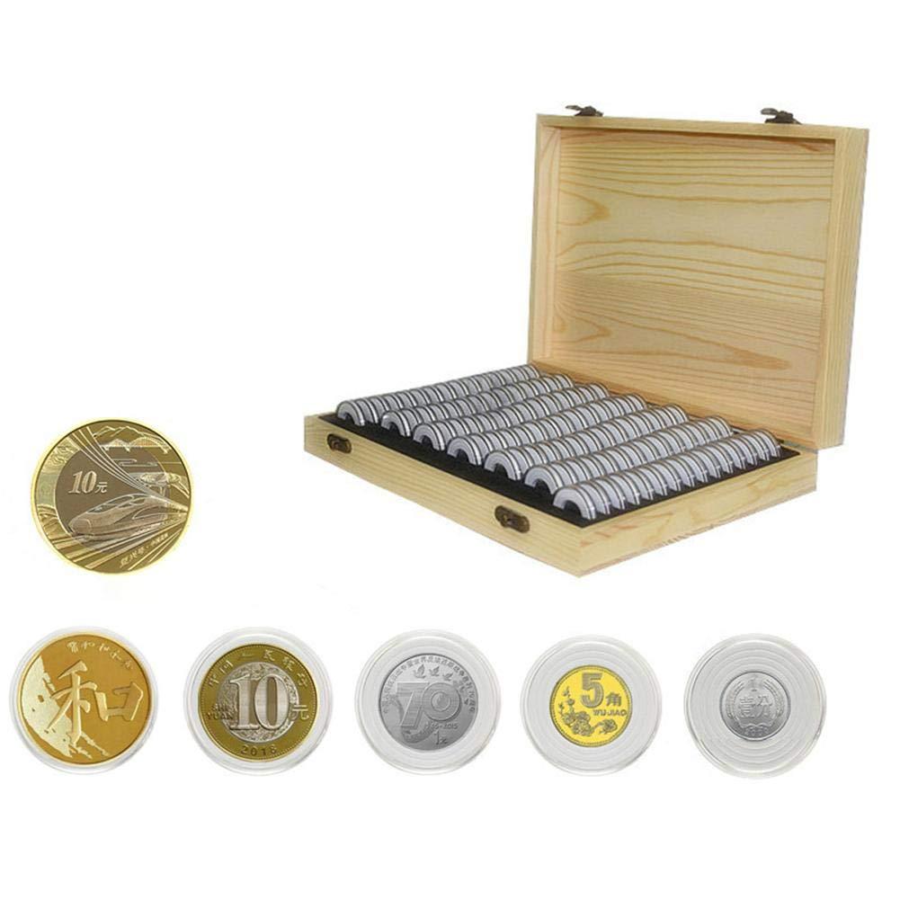 PROKTH 100 PCS Caja Conmutadora Conmemorativa de Monedas con Caja de Madera de Almacenamiento Caja de Protección de Monedas Caja de Colección de ...