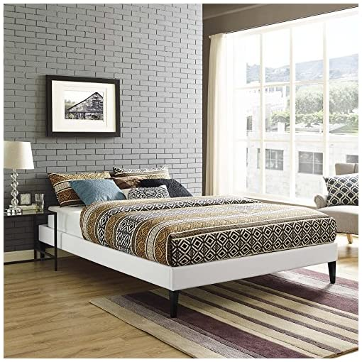 Bedroom Modway Tessie Faux Leather Full Platform Bed Frame with Wood Slat Support in White modern beds and bed frames