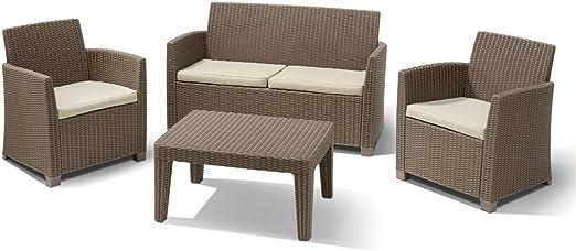 Salón Corona 4pz resina con almohadas Muebles exterior Casa Jardín: Amazon.es: Jardín