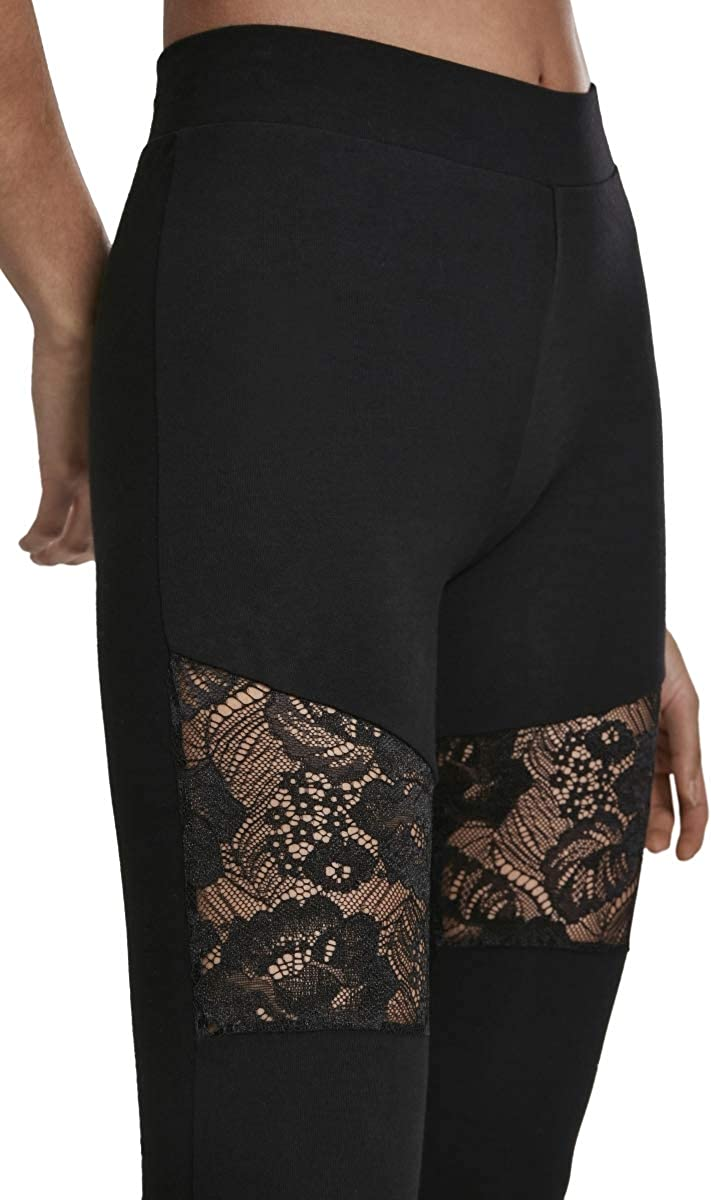 Urban Classics Damen Leggings Ladies Laces Inset Pants Yoga-Hose mit floralen Spitzen-Eins/ätzen
