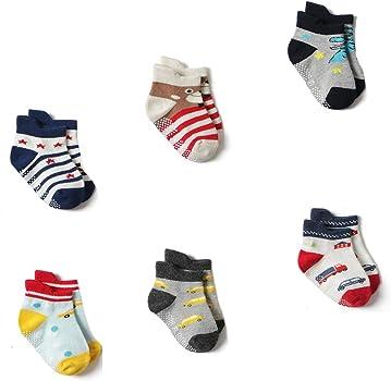Estwell 12 Pairs Baby Boys Girls Anti Slip Ankle Socks Cute Cotton Non Skid Stripe Socks for Toddler Infant Kids