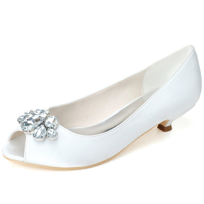 Elobaby Zapatos De Boda De Las Mujeres Rhinestones SatéN Peep Toe Flat Handmade/35-44 Size/3.5 Heel 36 EU|White