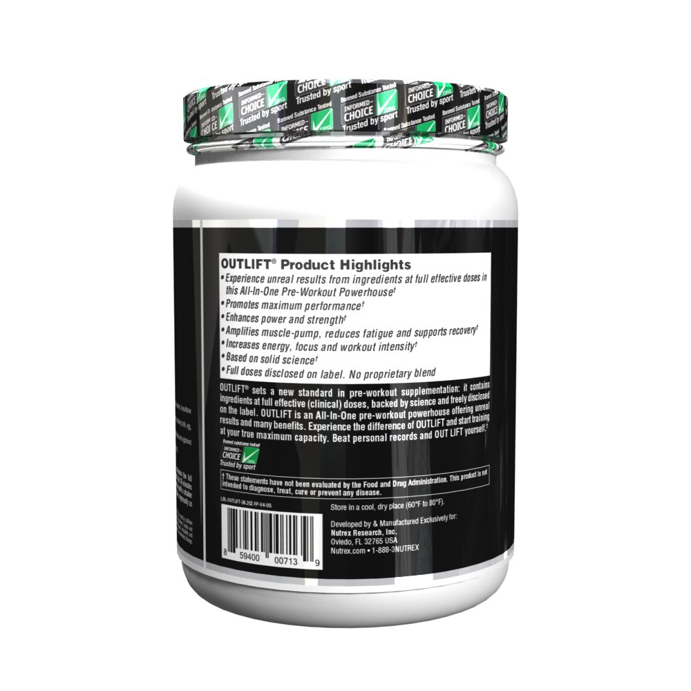 Nutrex Research Outlift Bonus Size Clinically Dosed Pre-Workout Powerhouse, Citrulline, BCAA, Creatine, Beta-Alanine, Taurine, 0 Banned Substances Fruit Punch 30 Servings