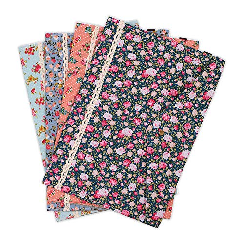 Expanding Poly Document Carrying Case - SumDirect 4Pcs 13.6x9.6 Inches Cotton Folder Floral Pattern A4 Size Paper Document File Carrying Case with Snap Button for Organizing Books, Documents, School and Office Accessories (Multicolor)