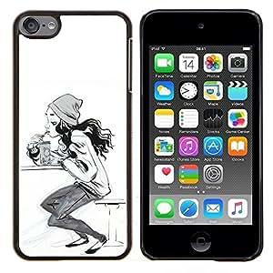 TECHCASE---Cubierta de la caja de protección para la piel dura ** Apple iPod Touch 6 6th Touch6 ** --blanco chica patinadora mujer boceto sk8 negro