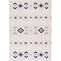 MAXY HOME Dejavu Collection Light Grey/Navy 5 ft. 3 in. x 7 ft. 3 in. Reversible Anti-Bacterial Area Rug