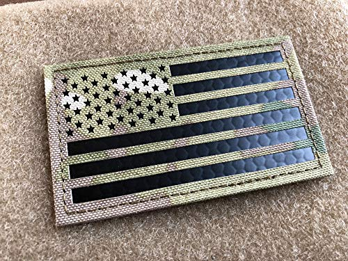 2x3.5 Multicam GIII Infrared IR US USA American Flag Patch Tactical Vest Patch Hook-Fastener Backing (1 Pack)