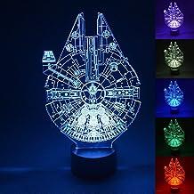 3D LED Light,Multi 7 Color Charge Button LED Desk Table Light Lamp Bedroom Children Room Decorative Night Light (Star Wars Millennium Falcon)