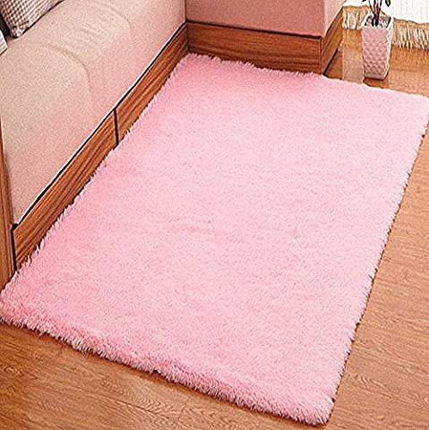 YOFAN 2.3-Feet By 5.2-Feet Modern Shag Area Rug,Super Soft Living Room/Bedroom/Kitchen Carpet,Wool Length 1.6inch (Big Circle White Fur Rug)