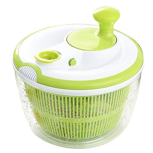 Tebery Spinner de ensalada grande BPA Free-Manual Secador de lechuga y lavadora de vegetales con diseño de secado rápido, lechuga escurridora y ...