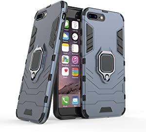 FOLICE iPhone 7 Plus case, iPhone 8 Plus case, [Heavy Duty] [Shockproof] Hybrid Rugged Soft Rubber Hard PC Tough Dual Layer Protective Case Cover with Kickstand for Apple iPhone 8 Plus (Grey)