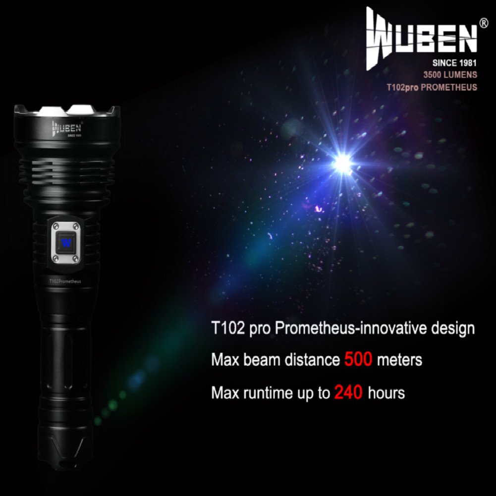 WUBEN T102pro Prometheus 3500 Lumens Flashlight with power indicator high drain battery 26650 by WUBEN (Image #3)