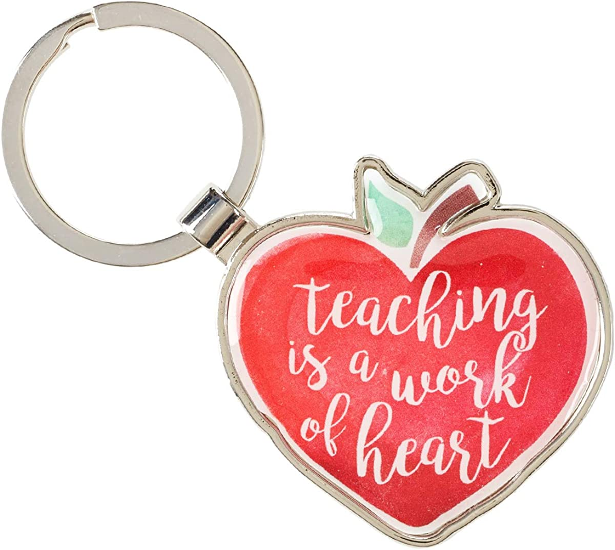 "Teacher Appreciation Keychain w/Touching Message -""Teaching is a Work of the Heart"" – Enameled Charm Bible Verse Colossians 3:23, Red Heart Shaped Apple Charm Key Ring"