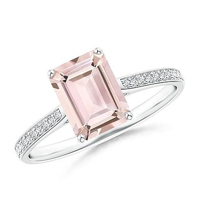 Angara Emerald-Cut Morganite Cocktail Ring in Platinum lW4JFDgMk