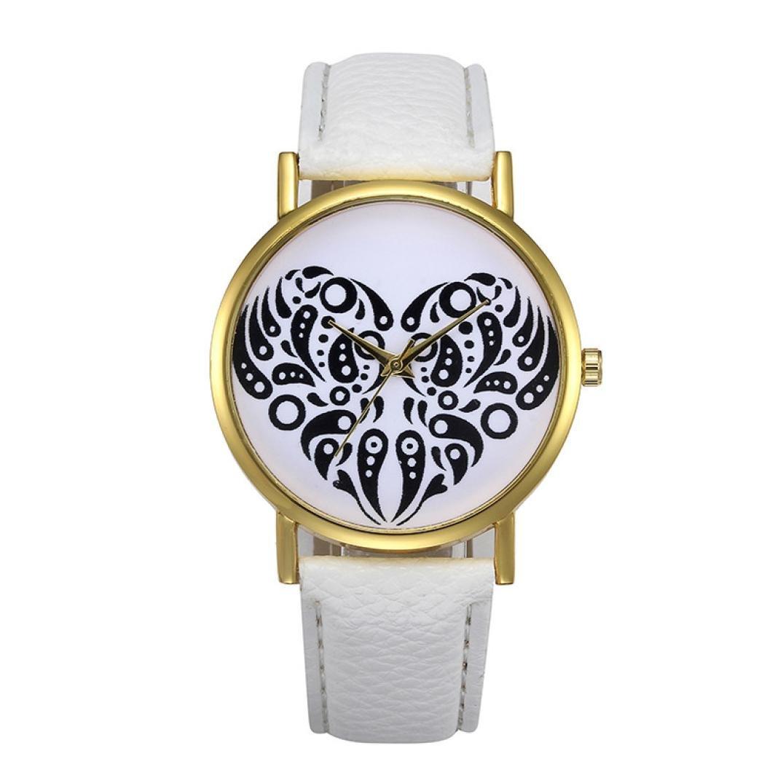 Sinmaレディースレトロシンプルハート型腕時計レザーバンドアナログ合金クォーツ腕時計 B072HJ6FZ1