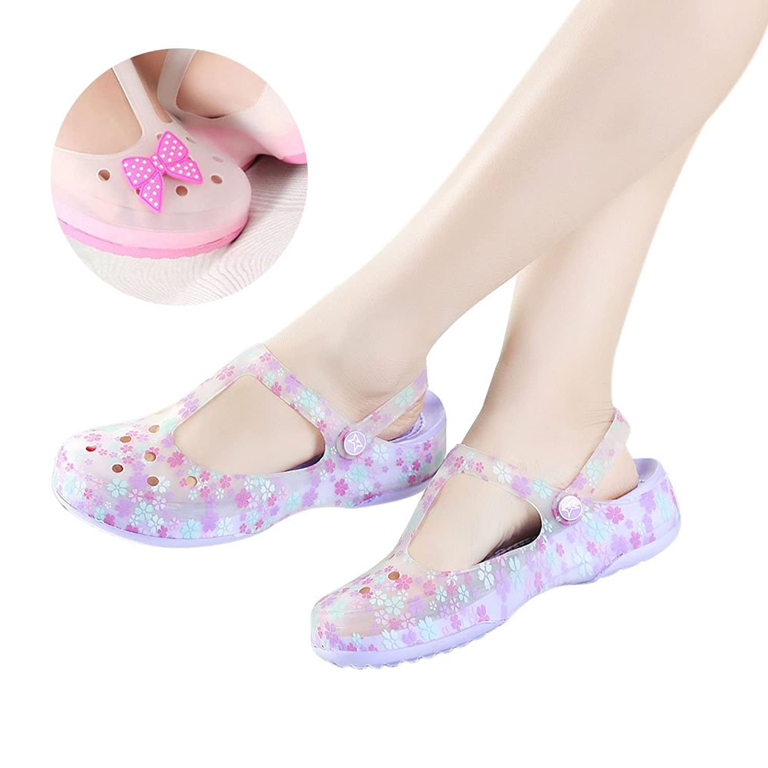 Womens Flower Printed Style EVA Garden Clog Shoes Sandals Beach Clogs With Backstrap + Decoration Gift Random