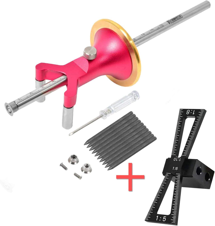 Newkiton Dovetail Jig Wheel Marking Gauge Multi Set, 1 Bearing Wheel Cutter For Soft Wood, 1 Locked Wheel Cutter For Hard Wood, 1 Metal Pin, 10 Woodworking Pencils, 1 Screwdriver Included