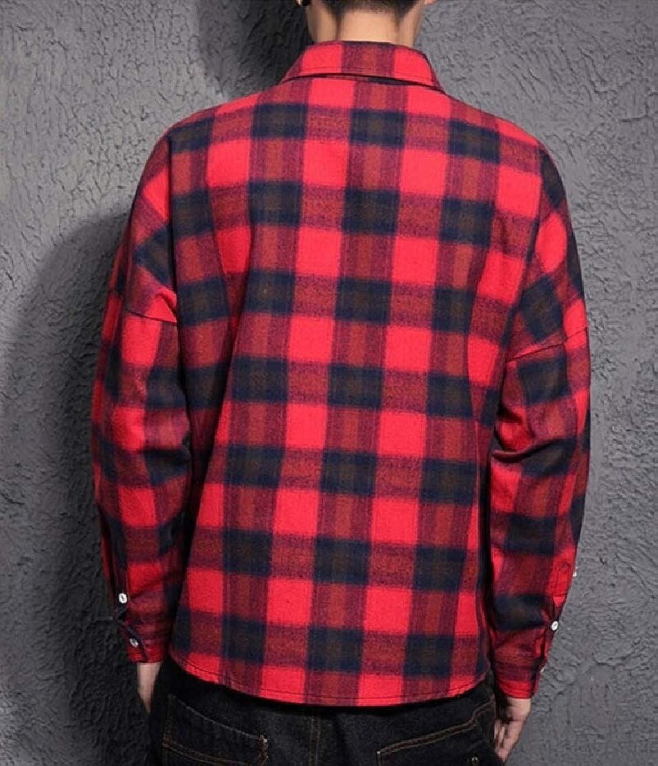 CYJ-shiba Mens Outdoor Plaid Loose Shirt Long Sleeve Button Down Shirt Coat Outwear