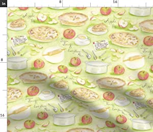 Spoonflower Fabric - Pie Apples Cooking Baking Printed on Fleece Fabric by The Yard - Sewing Blankets Loungewear and No-Sew Projects
