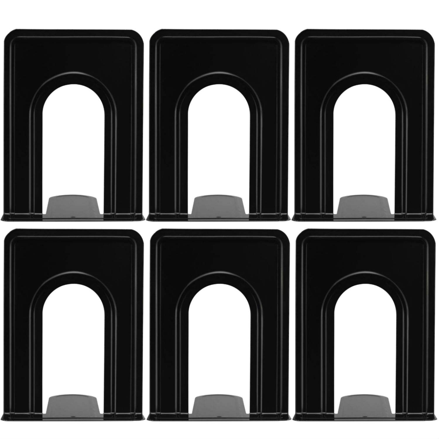 Yugge Bookend Supports Metal Book Ends Universal Economy Bookends Non-Skid Heavy Duty Book Ends Pack for Shelves Library Kitchen Home Classroom School Office, 6.69 x 4.9 x 4.3in, 3 Pair/6 Piece, Black by Yugge