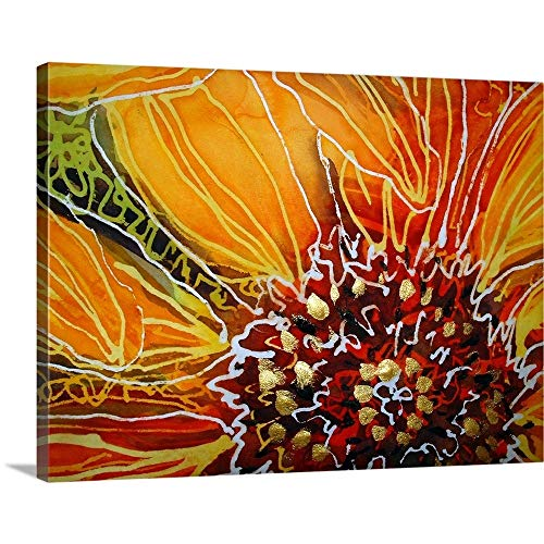 Batik Sunflower Heart Canvas Wall Art Print, 16