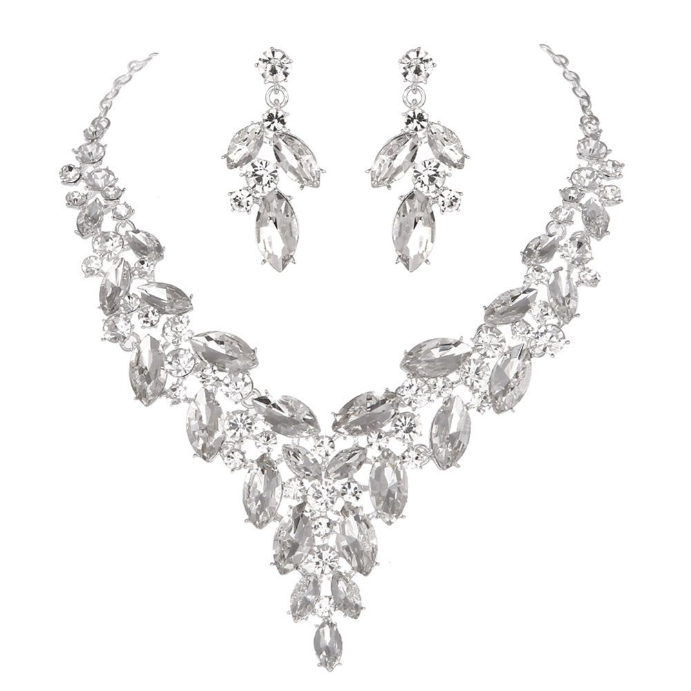 Modbridal Formal/Ball/Prom/Cocktail/Evening/Event Party Rhinestone Necklace and Earrings Jewelry Sets for Wedding Dress (Clear)