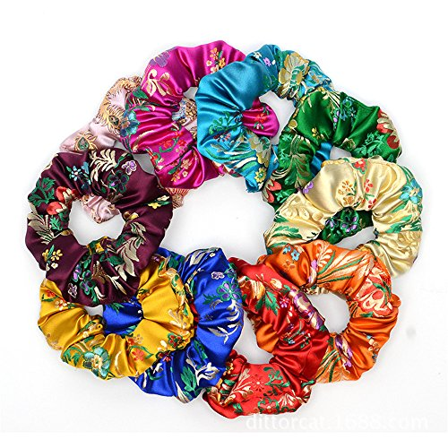 5Pcs Lady Satin Hair Scrunchies Elastic Hair Bobbles Embroidery Floral Hair Band Ties Ponytail Holder for Girls Women