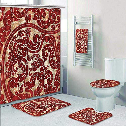 5-Piece Bath Set Hotel Collection with Bath Rug, Shower Curtain, and Bath Towel,Thai Culture Vector Abstract Background Flower Pattern Wallpaper Design Print Burgundy Decorate The Bath
