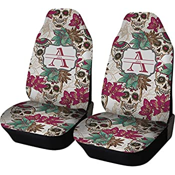 Sugar Skulls Flowers Car Seat Covers Set Of Two Personalized